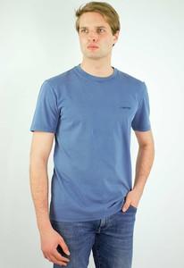 Niebieski t-shirt Calvin Klein z bawełny z krótkim rękawem