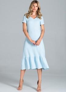 Niebieska sukienka Figl midi z krótkim rękawem z dekoltem w kształcie litery v