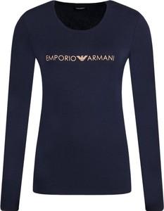 Niebieska bluzka Emporio Armani w stylu casual z okrągłym dekoltem z długim rękawem