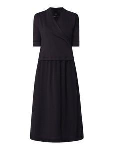 Granatowa sukienka Marc Cain midi kopertowa