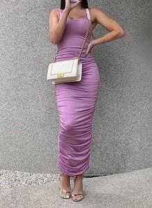 Fioletowa sukienka Arilook ołówkowa
