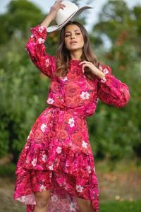 Czerwona sukienka Fobya asymetryczna