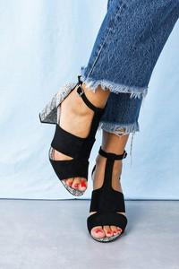 Czarne sandały Sergio Leone na średnim obcasie