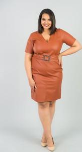 Brązowa sukienka KARKO mini ołówkowa