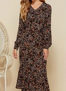 Sukienka Cikelly z dekoltem w kształcie litery v midi z długim rękawem