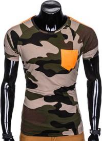 Zielony t-shirt Ombre Clothing w militarnym stylu z krótkim rękawem