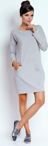 Sukienka Nommo z długim rękawem mini z okrągłym dekoltem