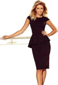 Czarna sukienka Moda Dla Ciebie z krótkim rękawem