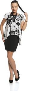 Sukienka Fokus z okrągłym dekoltem mini z tkaniny