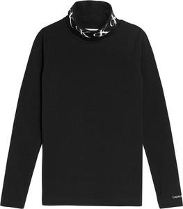 Czarna bluzka dziecięca Calvin Klein z bawełny z długim rękawem