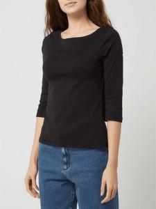 Czarna bluzka Montego z długim rękawem z okrągłym dekoltem