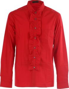 Czerwona koszula Prada z klasycznym kołnierzykiem z długim rękawem