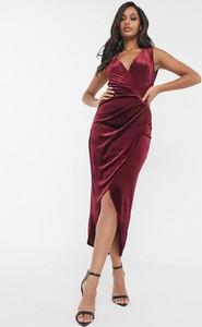 Fioletowa sukienka Tfnc bandażowa maxi z dekoltem w kształcie litery v