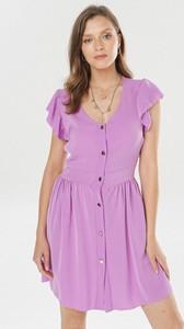 Fioletowa sukienka born2be mini z dekoltem w kształcie litery v