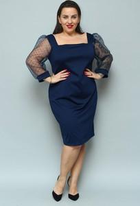 Niebieska sukienka KARKO ołówkowa z długim rękawem z tkaniny