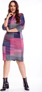 Sukienka TAGLESS w geometryczne wzory w stylu casual dla puszystych