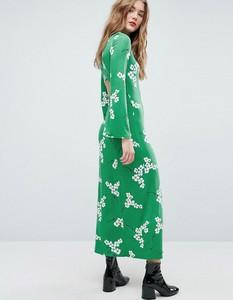 Sukienka Asos Design maxi z długim rękawem z dekoltem w kształcie litery v