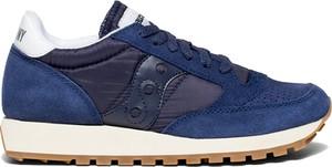 Niebieskie buty sportowe Saucony sznurowane z zamszu