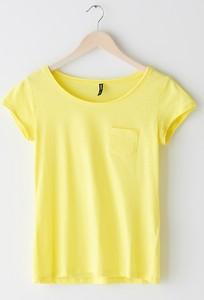 Żółty t-shirt Sinsay w stylu casual z okrągłym dekoltem