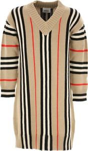 Brązowa sukienka dziewczęca Burberry z bawełny