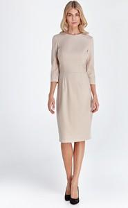 Sukienka Colett ołówkowa z okrągłym dekoltem z długim rękawem