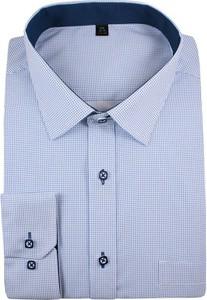 Niebieska koszula Grzegorz Moda Męska z bawełny