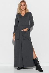 Czarna sukienka Makadamia maxi z dzianiny
