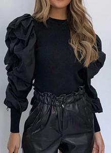 Czarna bluzka Sandbella z okrągłym dekoltem