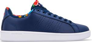 Niebieskie trampki Adidas z płaską podeszwą ze skóry advantage