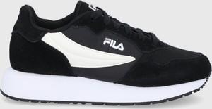 Czarne buty sportowe Fila sznurowane z zamszu