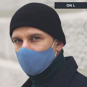 UlubionaMaseczka.pl Lniana męska maseczka ochronna wielorazowa ergonomiczny kształt niebieska On L