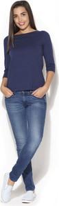 Niebieska bluzka Katrus z bawełny z długim rękawem