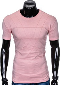 Różowy t-shirt Ombre Clothing z bawełny z krótkim rękawem