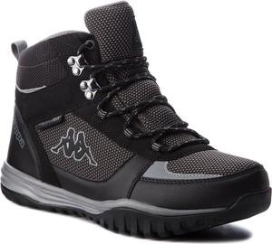 Czarne buty zimowe Kappa ze skóry ekologicznej