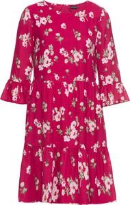 Czerwona sukienka bonprix BODYFLIRT w stylu boho z krótkim rękawem z okrągłym dekoltem