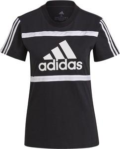 Czarny t-shirt Adidas w sportowym stylu z okrągłym dekoltem
