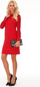 Czerwona sukienka Pawelczyk24.pl z długim rękawem z okrągłym dekoltem midi