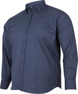 Niebieska koszula Bigsize z klasycznym kołnierzykiem z krótkim rękawem