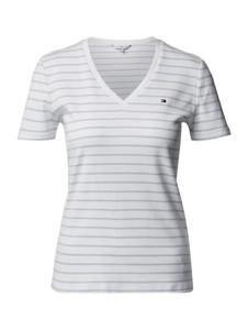 Niebieski t-shirt Tommy Hilfiger z bawełny z dekoltem w kształcie litery v w stylu casual