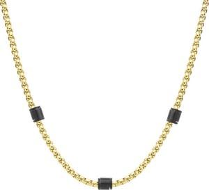 Manoki Pozłacany męski naszyjnik łańcuch z beadsami, stal szlachetna