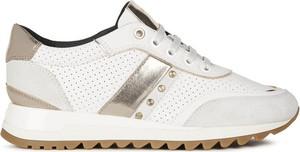 Buty sportowe Geox sznurowane z płaską podeszwą ze skóry ekologicznej