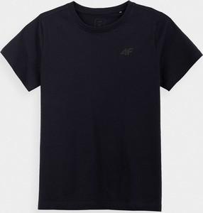 Czarna koszulka dziecięca 4F z bawełny z krótkim rękawem dla chłopców