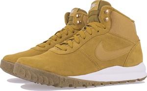 Żółte buty zimowe Nike ze skóry sznurowane