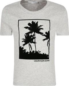 Koszulka dziecięca Calvin Klein z krótkim rękawem z jeansu