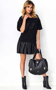 Czarna sukienka Makadamia w stylu casual z okrągłym dekoltem ze skóry ekologicznej