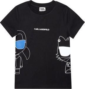 Czarna koszulka dziecięca Karl Lagerfeld dla chłopców z krótkim rękawem