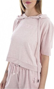 Różowa bluzka Guess z okrągłym dekoltem