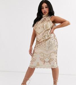 Złota sukienka Goddiva Plus midi
