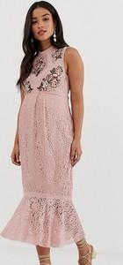 Różowa sukienka Hope & Ivy Maternity ołówkowa