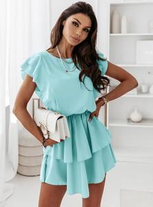 Sukienka Pakuten z okrągłym dekoltem z krótkim rękawem w stylu casual